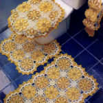 Фото: Желтые коврики для ванной комнаты