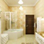 Фото: Бежевая ванная комната с джакузи