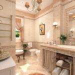Фото: Бежевая ванная комната с мебелью