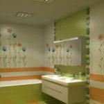 Фото: Большая ванная комната в зеленом цвете