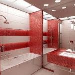 Фото: Большая ванная комната в красном тоне