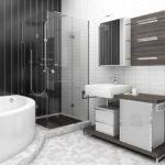 Фото: Большая ванная комната сочетание темных и светлых цветов