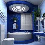 Фото: Красивая ванная комната синего цвета
