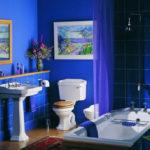 Фото: Необычная синяя ванная комната