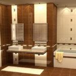 Фото: Просторная ванная комната в коричневом цвете