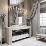Фото: Серая ванная комната со шторами