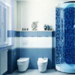 Фото: Синяя ванная комната с душевой
