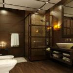 Фото: Темно-коричневая ванная комната