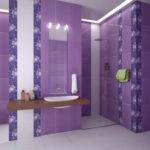 Необычная фиолетовая ванная комната