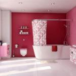 Темно розовая ванная комната