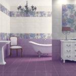 Фиолетово-белая ванная комната
