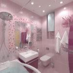Сочетание розового и фиолетового цветов в ванной