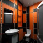 Яркая ванная комната в черно оранжевом цвете