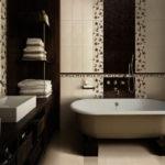 Евроремонт коричнево-белые тона ванной