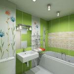 Евроремонт зеленой ванной комнаты