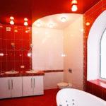 Капитальный ремонт ванной красного цвета