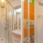 Капитальный ремонт ванной оранжевого цвета
