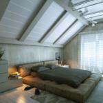 спальня на мансарде серого цвета