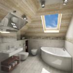 светлая ванная комната на мансарде