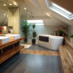 Необычная ванная комната на мансарде