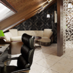 кабинет на мансарде с кожаным стулом