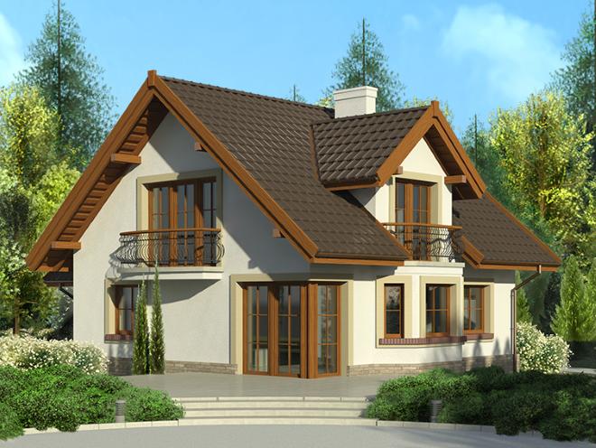 красивый проект дома с мансардной крышой